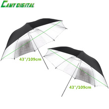 2PCS Kit 43″/109cm Reflector umbrella Photo Studio Flash Light Grained Black Silver Umbrella