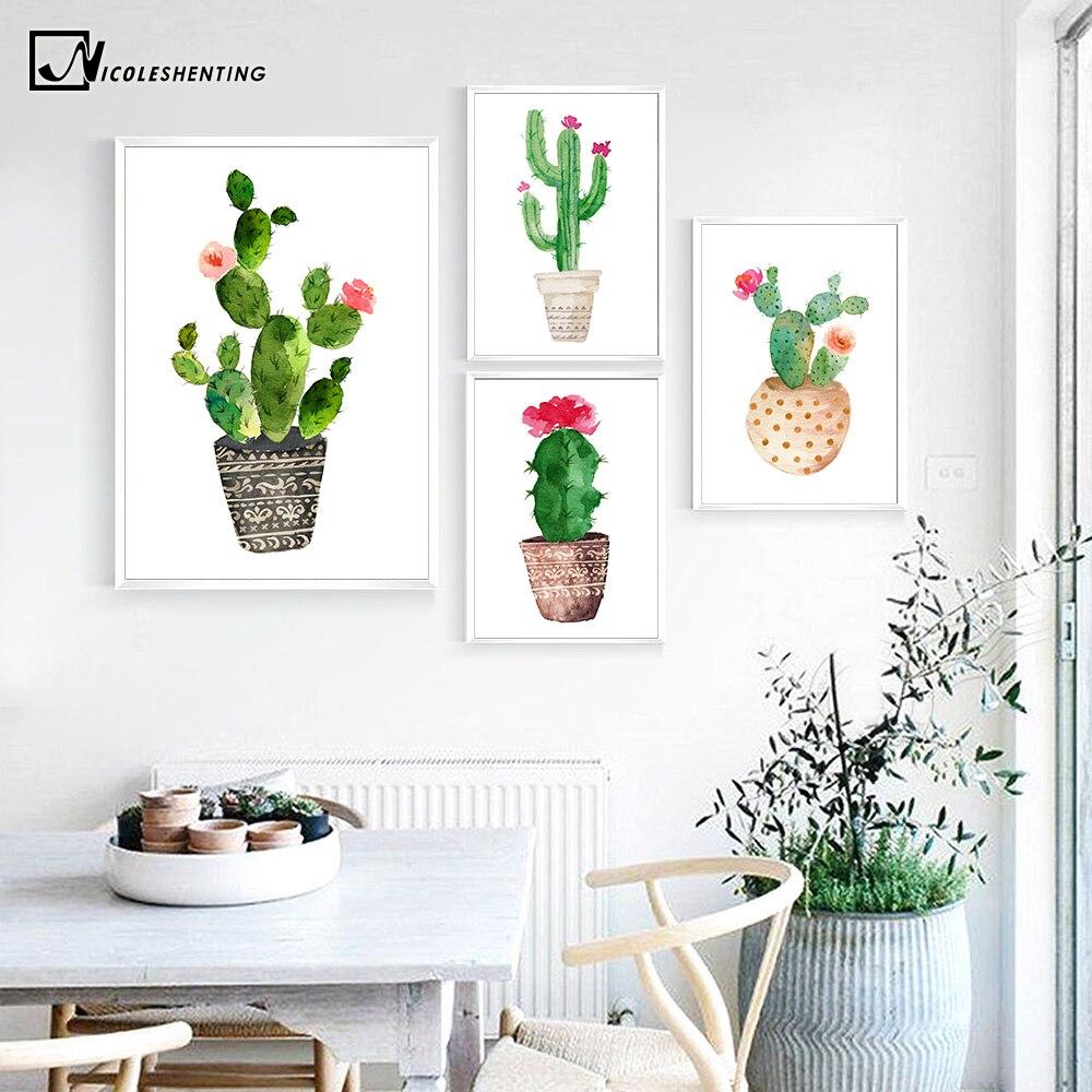 Акварельные растения, кактус, Цветочный постер с принтом, минималистичное украшение, Картина на холсте, Настенная картина для гостиной, дом...