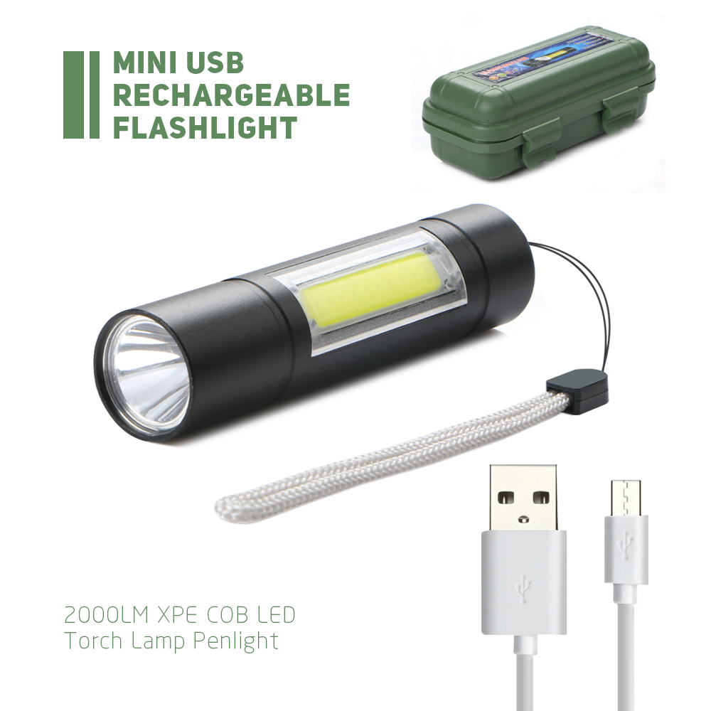 Portable Mini Pocket Zoomable USB Rechargeable LED Light Flashlight Torch Lamp