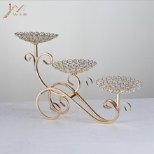 3-Arms Candle holders Metal Candelabras Shiny Gold Candlesticks Wedding Centerpieces Candle Holder Cake Plate Home Decoration(China)