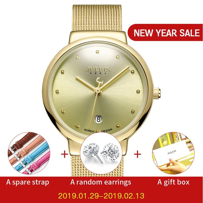 JULIUS JA-426 տղամարդկանց արծաթագույն ոսկե շագանակագույն սև ԱՐՏ չժանգոտվող պողպատից քվարց անալոգային Diamante Dial Fashion պատահական անջրանցիկ ժամացույց