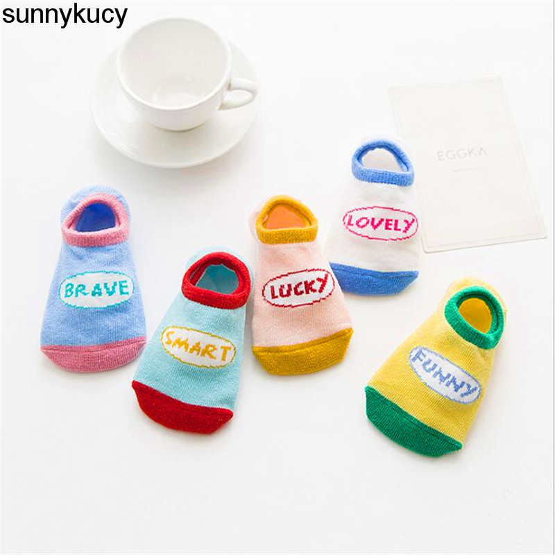 5 Pairs / lots Of New Letters Word Sports Invisible Socks Soft Cotton Boys And Girls Children