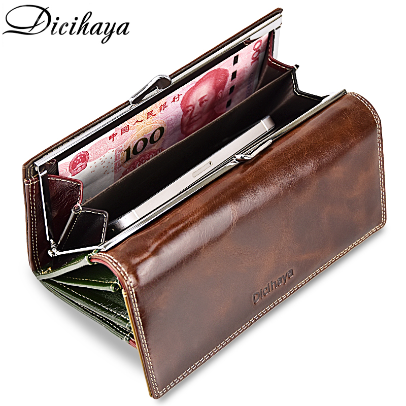 DICIHAYA Women's Oil Wax Genuine Leather Wallet Long Cowhide Luxury Brand Wallets Card Holder Phone Purse Female Big Clutch Bag