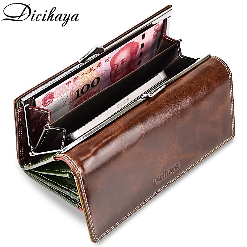 DICIHAYA Women's Oil wax genuine leather Wallet Long Cowhide Luxury Brand Wallets Card Holder Phone Purse Female Big Clutch Bag