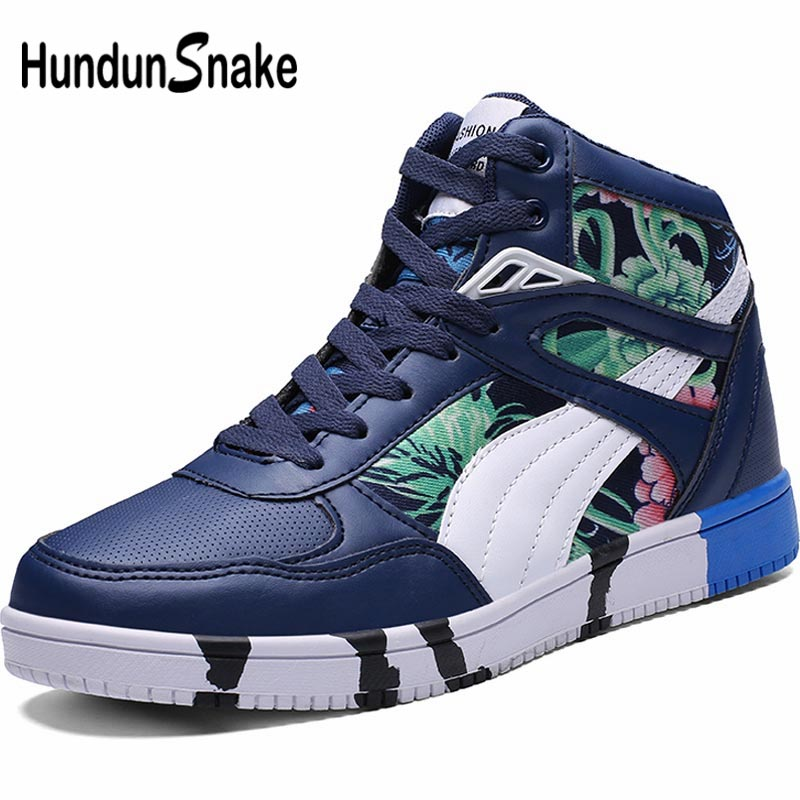 Hundunsnake High Top Mens Shoes Sport Women Sneakers Men Summer Mens Running Shoes Sports Pu Leather Hip Hop Shoes Blue A-180