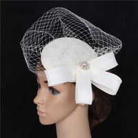 Charming Small Hats with Face Veil Bridal Hair Accessories Ladies Black Wedding Hats chapeau voilette mariage SH89