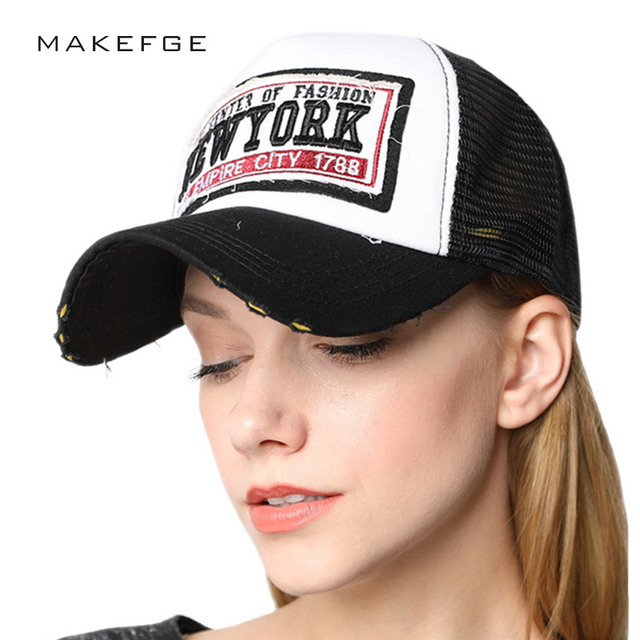 384f412b64d5eb YORK CITY Women's NY Baseball Cap with Mesh Brand Snapback Hat Trucker Cap  New York Baseball