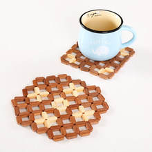 Square / Octagon Tableware Bamboo Placemat Hollow Wooden Pot Cup Mat Home Decoration Mat 16.5*16.5cm, 17.5*17.5cm, 12.5*12.5cm(China)