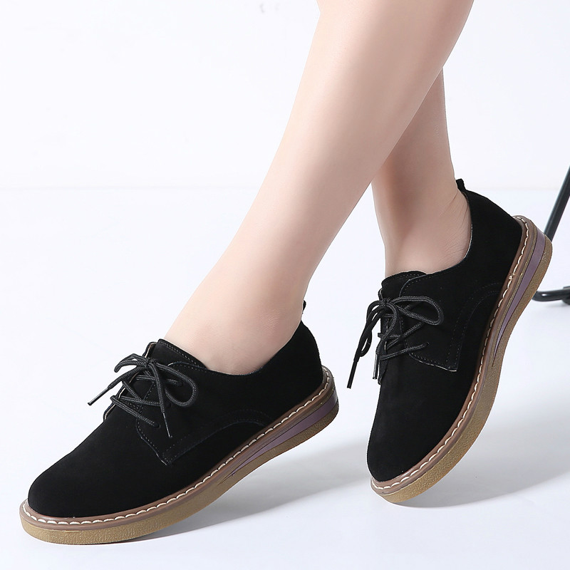2019 Spring women flats shoes women sneakers   leather     suede   lace up boat shoes round toe flats moccasins oxford for women 989