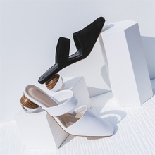 Summer fashion women slippers beautiful shoes ball high heel Mules comfortable black white female