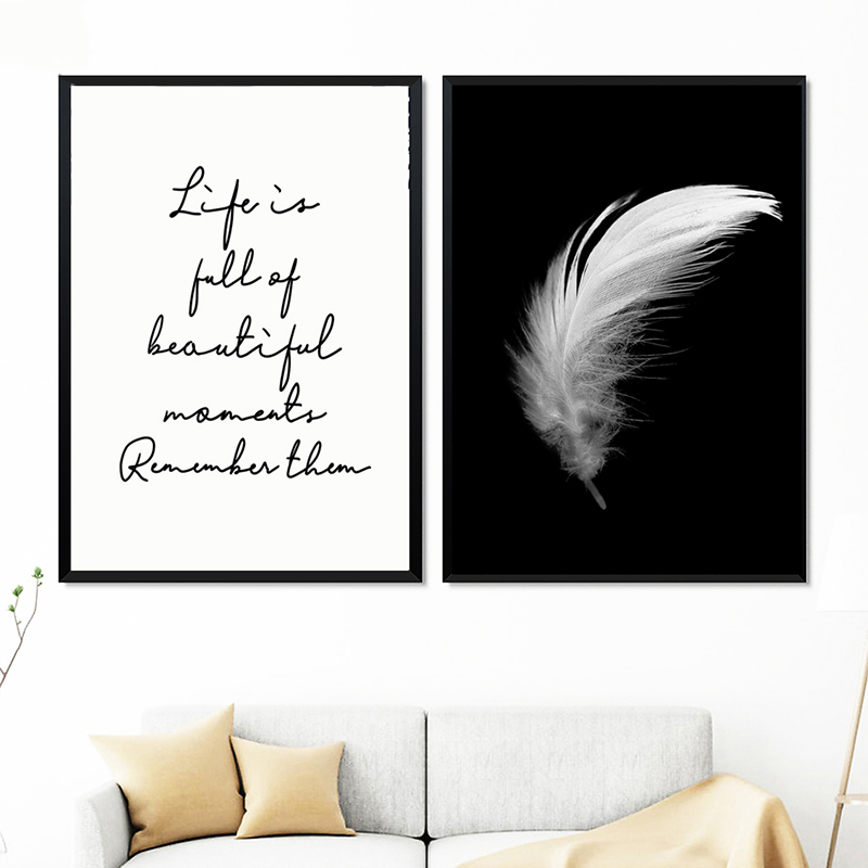 HTB1z6JWaU rK1Rjy0Fcq6zEvVXaA Posters And Prints Canvas Feather Quote Painting Wall Art Black White Pictures For Living Room Nordic Minimalist Decoration
