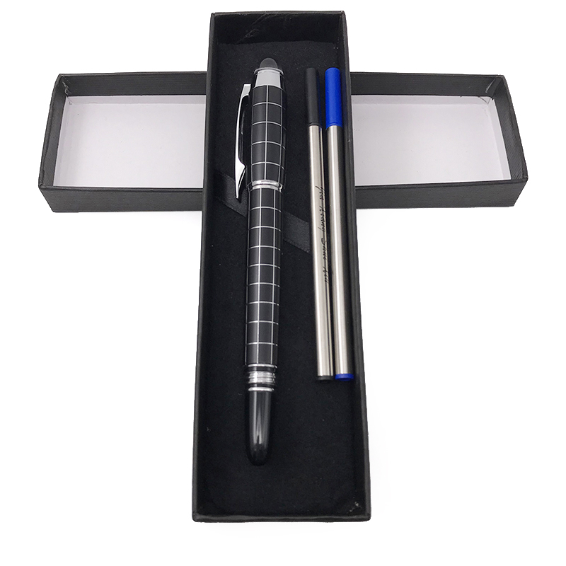 High Quality Silver Clip Baoer 79 Crystal Top Rollerball Pen Gift Set Stationery Luxury Business Office Xmas Gift for Friends
