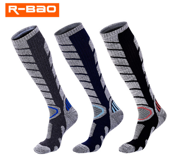 2 Pairs R-BAO RB3321 Ski Socks 85% Cotton Hiking Socks Outdoor Mens Sports Socks Warm Spring Winter Fit to Size 40-44
