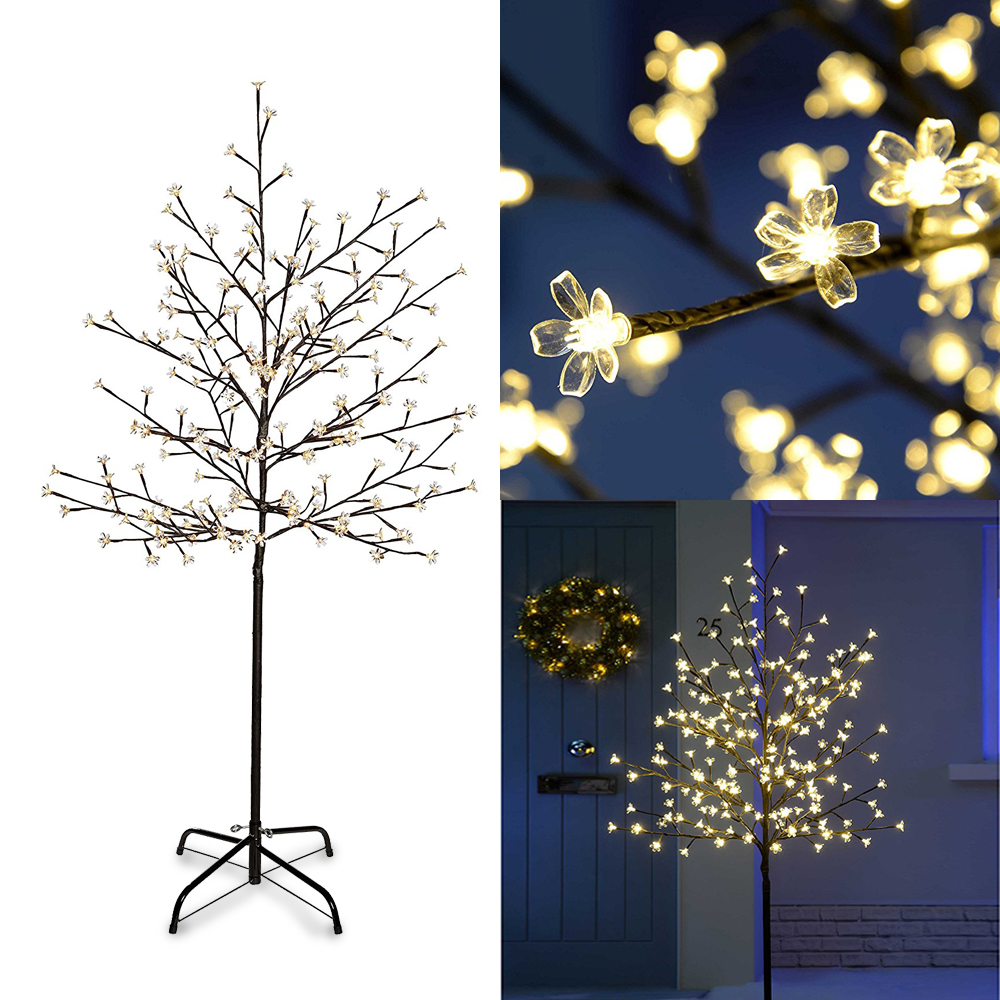 Warm White Light LED Christmas Cherry Blossom Trees 150cm Artificial LED Tree Xmas Indoor Outdoor Lighting Wedding Garden