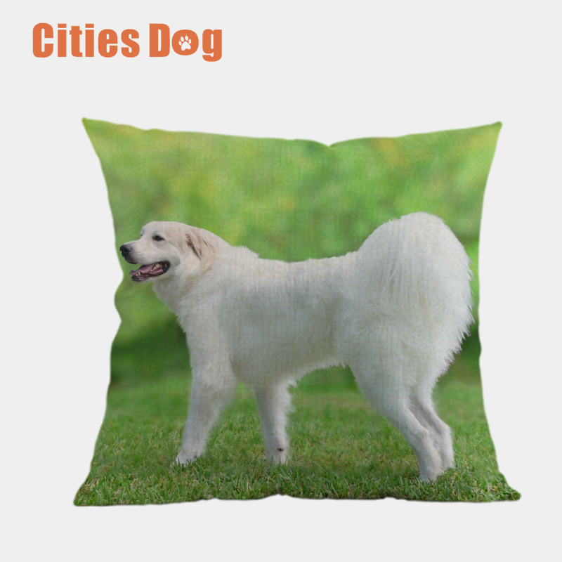 Decorative Cushion Animal dog Pillows Great Pyrenees cojines decoracion para el hogar linen 45x45cm throw Car Pillow
