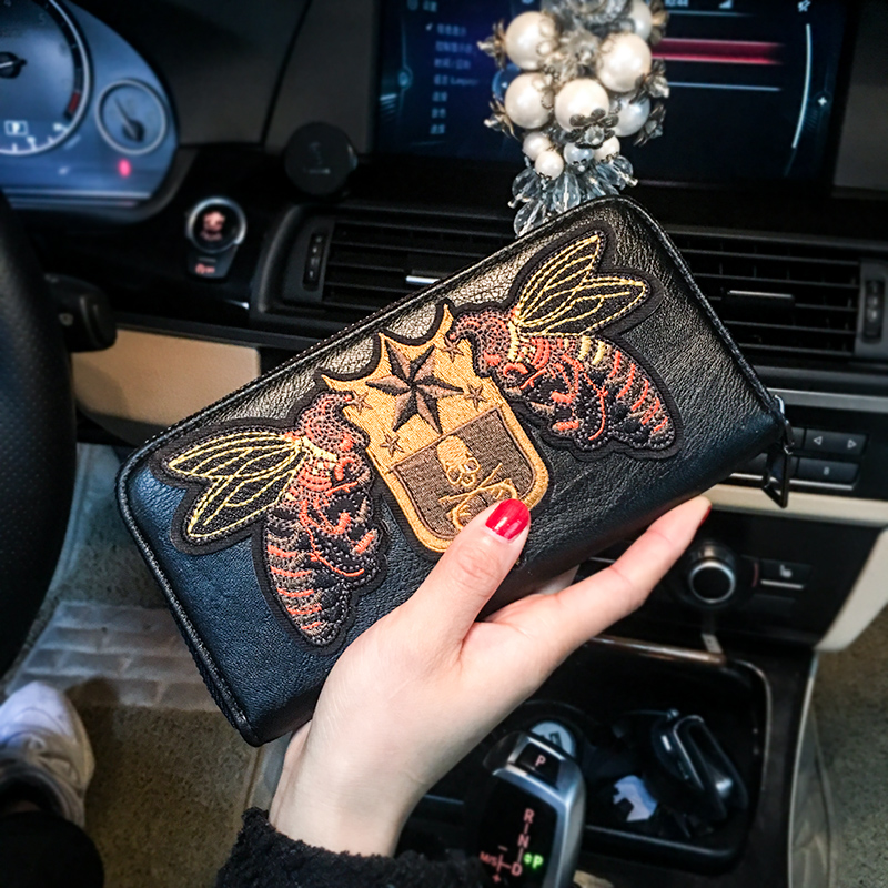 Wallet Women Personality Embroidery Retro Long Wallet Zipper Bag Leather man Clutch Bag Mobile Phone Business Female Wallet 37