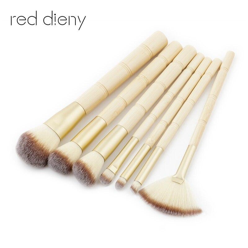 7Pcs Pro Foundation Makeup Brush Set Gold Powder Blush cosmetics make up brushes