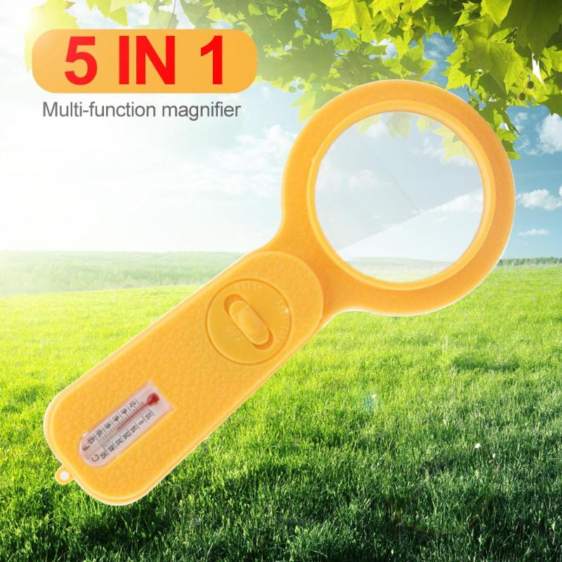 5 in 1 Thermometer with Compass and LED Lamp for Money Checking Magnifier Illuminated Magnifier Microscope Magnifying Glass in Magnifiers from Tools