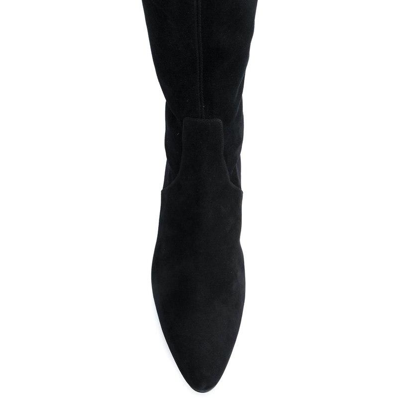 Plat Dames Coloré De Peau Bottes Diamants bas Noir Daim Nouveau Sexy Des Mode Grande Cuisse 2018 Avec Chaussures Taille Élastique oCrdxBe