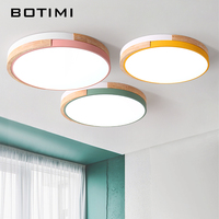 BOTIMI 220V LED Ceiling Lights Modern Round Ceiling Mounted Wood Lamps For Bedroom Wooden Kitchen Luminaire Colorful Rooms Lamp