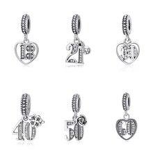 0ab7831621ce Original 925 del grano del encanto 18 30 40 60 años de amor encantos  pendientes día especial Fit Pandora pulseras joyería de las.