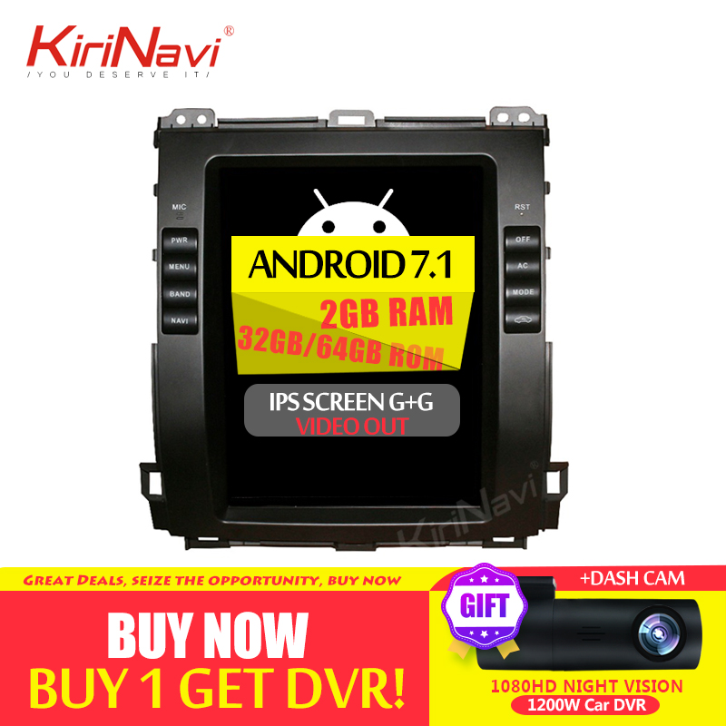 KiriNavi 2 GB RAM Polegada Tesla Estilo Vertical Da Tela Android 6.0 10.4 Carro DVD Gps Rádio Do Carro Para Toyota Prado navegação