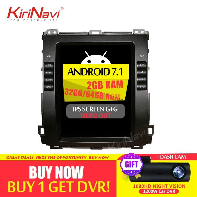 KiriNavi 2 GB de RAM pantalla Vertical Tesla estilo Android 6,0 de 10,4 pulgadas de la Radio del coche para Toyota Prado coche DVD Gps navegación