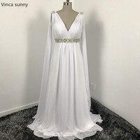 Greek Style Wedding Dresses With Watteau Train 2017 V Neck Long Chiffon Grecian Beach Maternity Wedding
