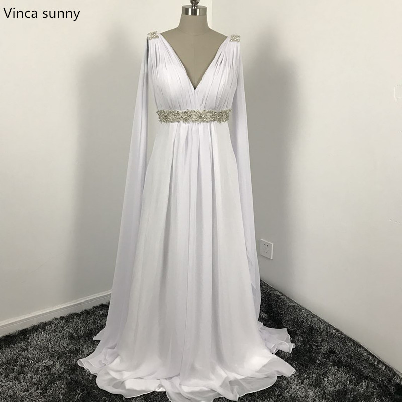 Greek style wedding dresses with watteau train 2018 v neck for Grecian chiffon wedding dress