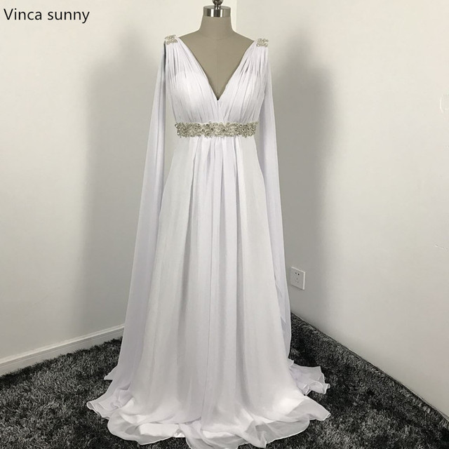 Griechischen Stil Brautkleider mit Watteau Zug 2018 V ausschnitt ...