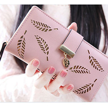 leaf zipper hasp long clutch bag women fashion print purse phone cards multifunction wallet 5 Colors for Choice #20