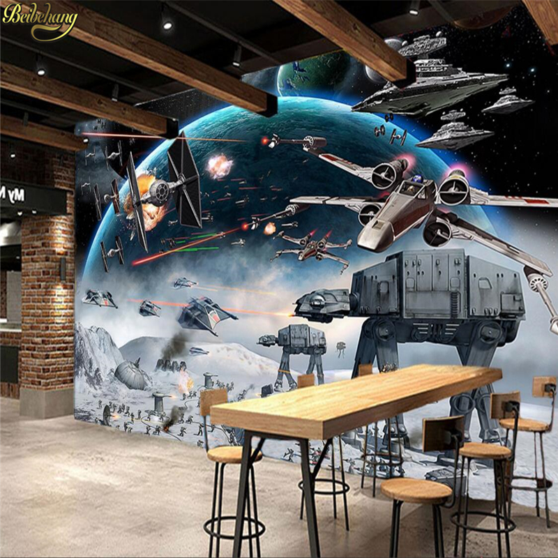 beibehang Custom Photo Wall Paper 3D Stereo Cartoon Shock Star Wars Mural Kid's Room Cafe KTV Backdrop Wallpaper For Walls large photo wallpaper bridge over sea blue sky 3d room modern wall paper for walls 3d livingroom mural rolls papel de parede