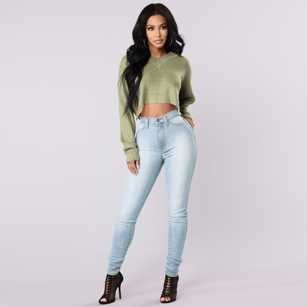 Sexy Women Skinny   Jeans   Classic High Waist Washed Slim Pants Plus Size Pencil Trousers Dark Blue/Blue/Light Blue Denim   Jeans