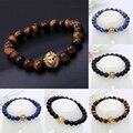 Buddha talão pulseira pulseiras masculinas preto leão de pedra natural pulseira de homens bracciali uomo mens pulseiras pulseras hombre