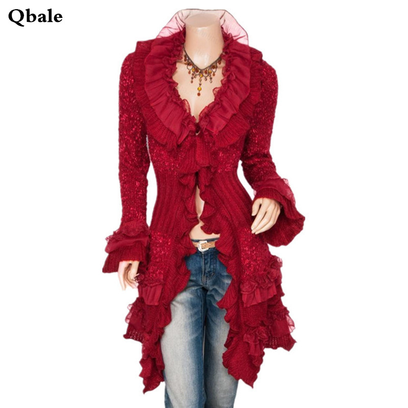 Qbale Ruffle Sweater Cardigan Women Long 2017 Spring Autumn Fashion Ladies Cute Long Knitted Cardigans