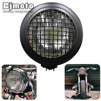 Bjmoto Motorcycle Custom Bikes Aluminum Daymaker Headlamp Cafe Racer Projector LED Headlight For Harley Chopper Bobber
