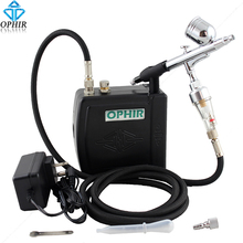 цена на OPHIR 100V-240V 0.3mm Dual-Action Airbrush Kit + Mini Black Air Compressor Nail Art Makeup_AC003B+AC004+AC011