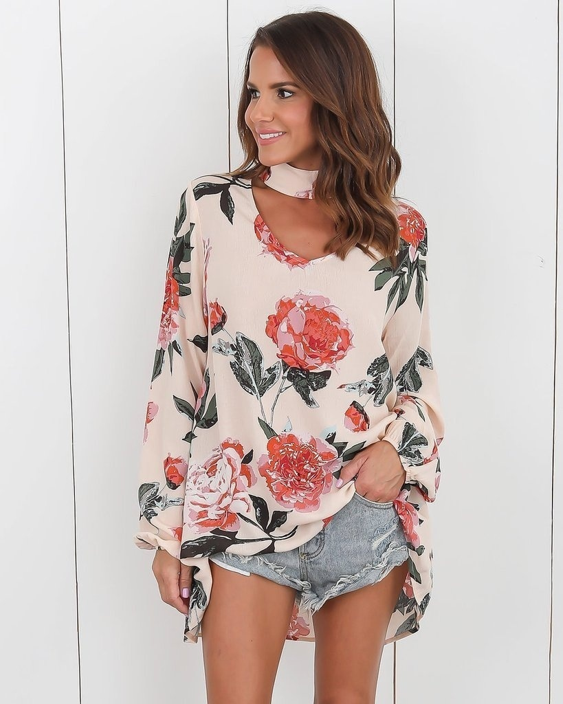 Shirt New Casual Women Graphic Floral Printing Tops Long Sleeve Halter V Neck Fashion Blouse Autumn Ladies Cute ClothingTop2