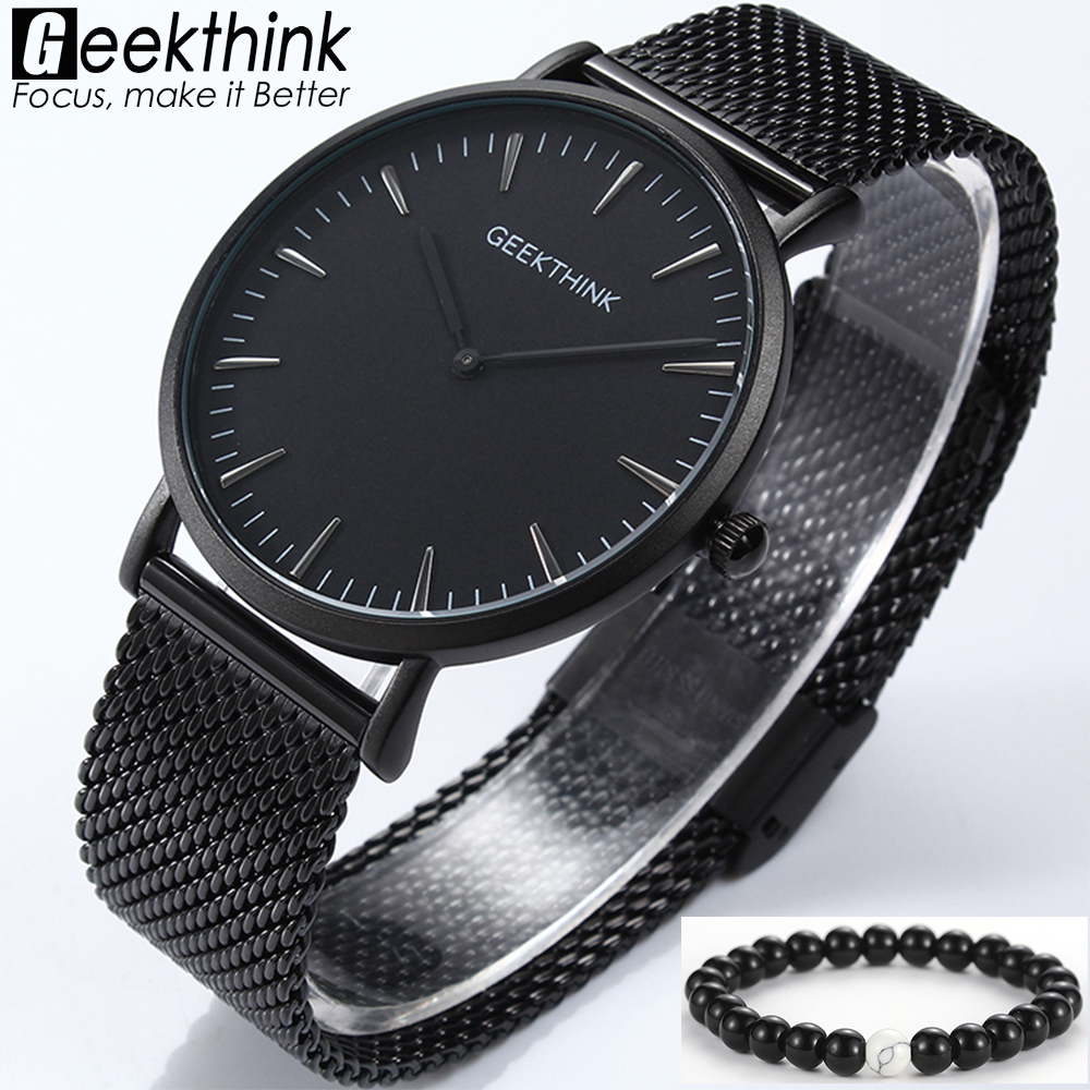 GEEKTHINK Top Brand Luxury Quartz Watch Men Japan Movement Quartz Clock Stainless Steel Mesh Strap Ultra Thin Business Casual