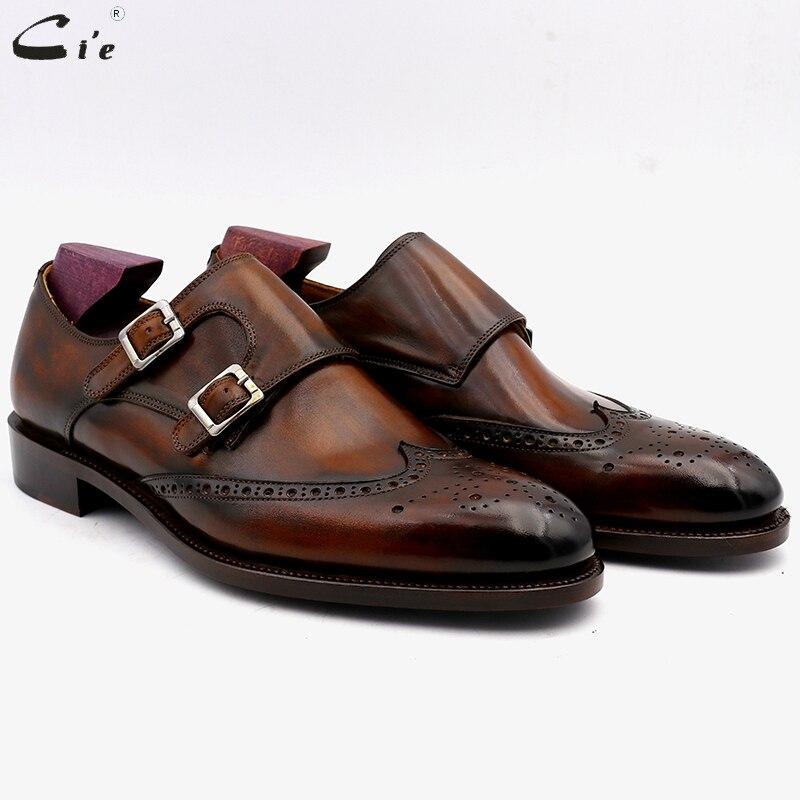Cie Brogues Grão Cheio Genuíno Couro de Bezerro Dedo Do Pé Redondo Sapatos Formal Dos Homens Feitos Sob Encomenda Vestido de Monge Tiras Sapato Escritório Homens elegante MS00