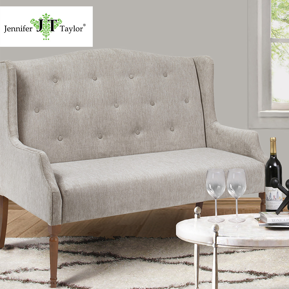 Jennifer Taylor Home, Settee, Navy Blue/Silver Cloud, Velvet, Hand Tufted, Wooden Legs, 51 1/2W x 29 1/2D x 39 1/2H, 61010 jennifer taylor home sofa bed hand tufted hand painted and hand rub finished wooden legs 65000 584 859 865