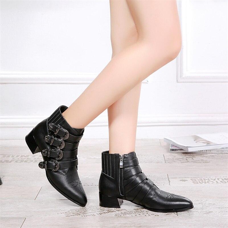 Automne Bottes Hiver Décoration Chaud Véritable Boucles Femme Noir Chaussures Talons Fedonas En Carré 1new Moto Femmes Cuir Cheville ngSFqx0t8w
