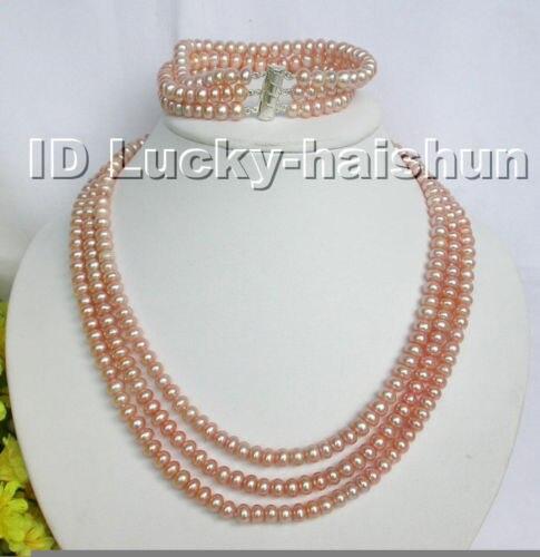 Offre spéciale nouveau Style>>>> ensemble de bracelet de collier de perles roses 3row
