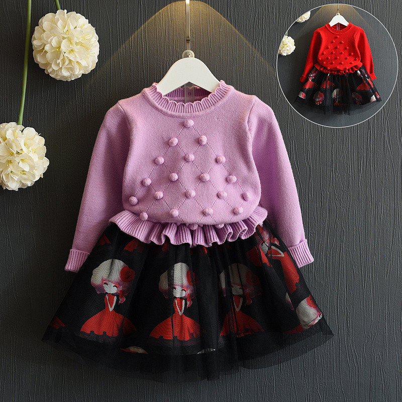 2PC Children Clothes Girls Clothing Sets O-neck Cotton 2017 Toddler Girl Suits Autumn Winter Fashion Long Sleeve+Skirt autumn winter girls children sets clothing long sleeve o neck pullover cartoon dog sweater short pant suit sets for cute girls