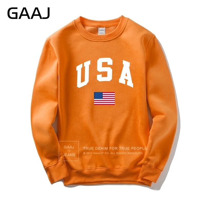 f79146f39261 Acquista GAAJ USA America Flag Uomo Donna Felpa Casual Con Cappuccio ...