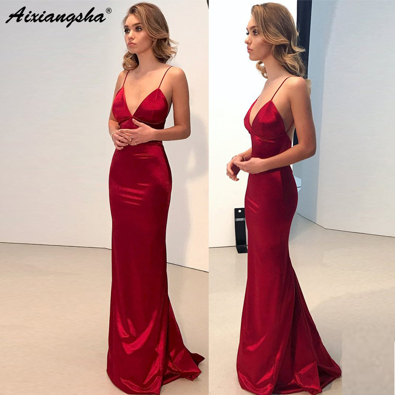 Prom-Dresses Evening-Gown Backless Mermaid-Long Dark-Red Simple Cheap Spaghetti-Strap