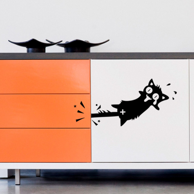 Funny Cartoon Black Cat Wall Sticker Kitchen Cabinet Car Door Wall Decals  Furniture Glass Stickers Decal