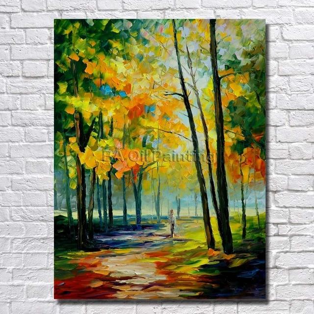 Gambar Handpainted Modern Art Indah Hijau Pohon Jalan Pemandangan Pisau