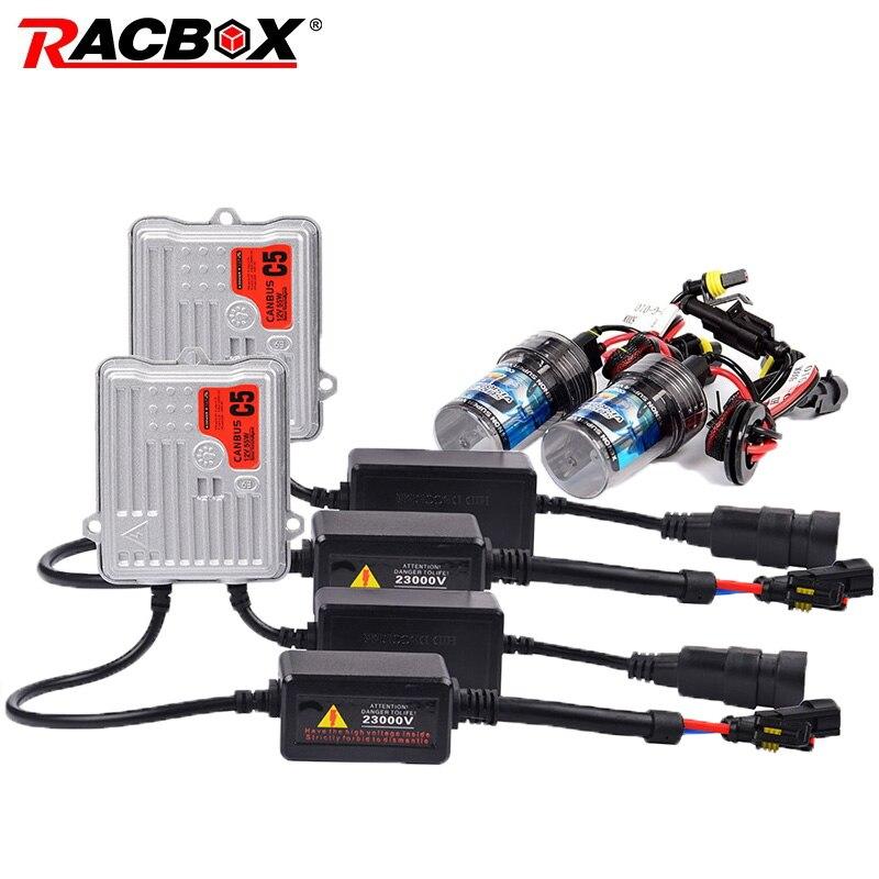 RACBOX التيار المتناوب 55 واط بداية سريعة/Canbus الصابورة HID زينون تحويل مجموعة مصابيح سيارة 12 فولت H1 H3 H7 H11 9005 HB3 9006 HB4 4300 كيلو 6000 كيلو 6000 كيلو