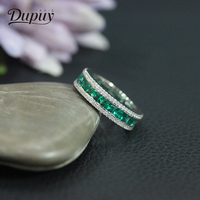 DUPUY Classic Emerald Engagement Ring 14k White Gold Elegant Round Wedding Ring Luxury Exquisite Women's Jewelry D180168